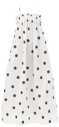 Ganni Shirred Polka-dot Shell Midi Dress - White Multi