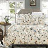 Vaulia Lightweight Microfiber Duvet Cover Set, Floral Pattern Design, Cream - Queen Size