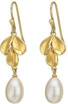 Nina Fresh Water Pearl Leaf Earrings