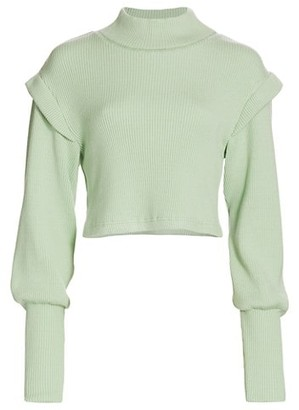 JONATHAN SIMKHAI STANDARD Max Puff-Sleeve Mockneck Sweater