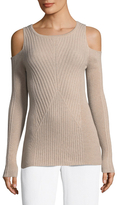 Qi Ribbed Cold Shoulder Cashmere Sweater