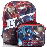 Marvel Captain America Civil War Large Backpack and Insulated Lunch Bag - Black