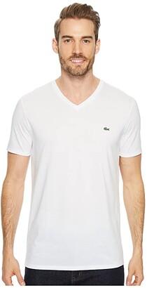 Lacoste Short Sleeve V-Neck Pima Jersey Tee (White) Men's T Shirt
