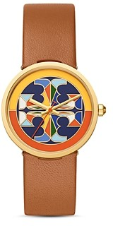 Tory Burch Reva Leather Strap Watch, 36mm