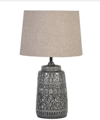 Cositas - Grey Ceramic Table Lamp With Linen Shade