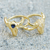 Logan Hollowell - Bull Skull Ring With Sapphire