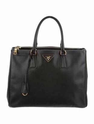 Prada Large Saffiano Lux Galleria Double Zip Tote Black