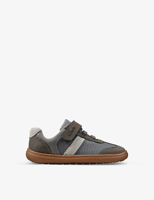 Clarks Flash Step leather and suede trainers 6-9 years