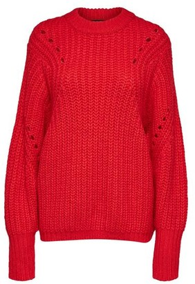 Selected True Red Ginna Ls Knit O Neck Jumper - XS - Red