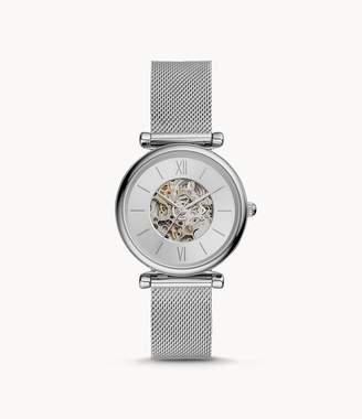 Fossil Carlie Automatic Stainless Steel Mesh Watch jewelry
