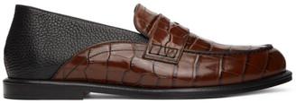 Loewe Brown and Black Croc-Embossed Slip-On Loafers