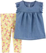 Carter's Girls' Leggings Denim - Denim Chambray Angel-Sleeve Top & Yellow Floral Leggings - Infant