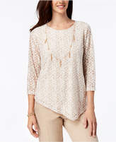 Alfred Dunner La Dolce Vita Asymmetrical Necklace Top