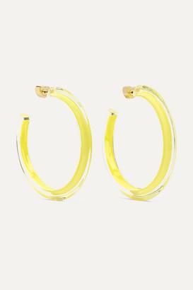 Alison Lou Medium Jelly Lucite And Enamel Hoop Earrings - Yellow