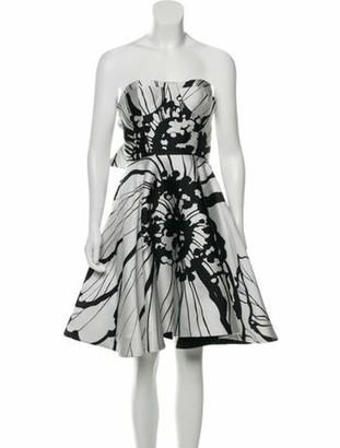 Dennis Basso Floral Halter Dress Silver