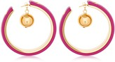 Marni LEATHER COVERED HOOP EARRINGS W/ CHARM