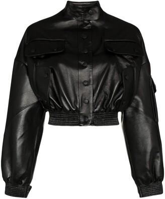 MATÉRIEL Cargo cropped faux leather bomber jacket