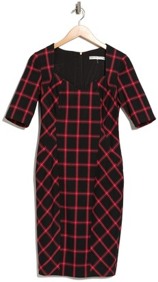 Trina Turk Geometric V-Neck Pagoda Plaid Chiyah Dress