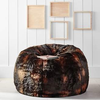 Pottery Barn Teen Brown Bear Faux-Fur Beanbag, Slipcover, Large