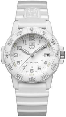 Luminox Leatherback Sea Turtle 0300 series Watch with carbon compound Case White|Silver Dial and Silicon White Strap XS.0307.WO