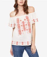 Sanctuary Magnolia Cotton Embroidered Cold-Shoulder Top