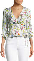 Milly Ruffled Floral-Print Wrap Top