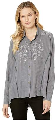Miss Me Embroidered High-Low Long Sleeve Shirt