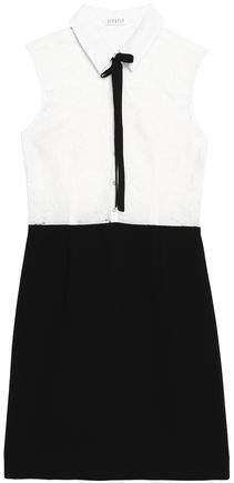 Claudie Pierlot Pussy-Bow Poplin-Paneled Lace And Crepe Mini Dress