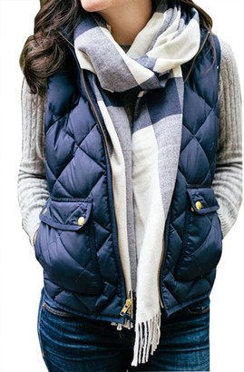 Harri Me Women's Stand Collar Warm Padded Zip Closure Side Pockets Gilet Quilted Puffer Vest (XL