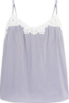 Stella McCartney Marie Skipping Broderie Anglaise-trimmed Striped Poplin Camisole - Light blue