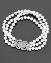 14k White Gold Cultured Freshwater Pearl & Diamond Heart Bracelet (1/6 ct t.w.)