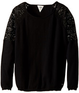 Ikks Knit Pullover Sweater with Sheer Lace Detail on Shoulders (Big Kids)
