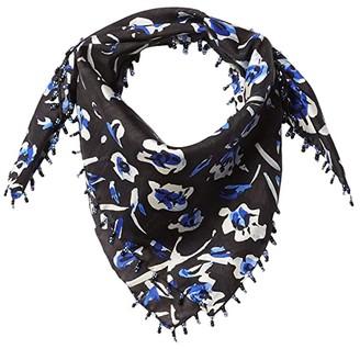 Tory Burch Midnight Teapot Beaded Neckerchief (Blue) Scarves