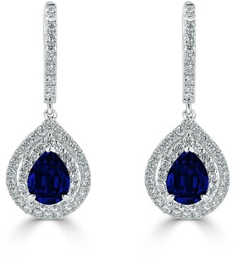 Auriya Fancy Teardrop 2 5/8ct Blue Sapphire and 1.03ct Diamond Double Halo Dangle Earrings 18k Gold