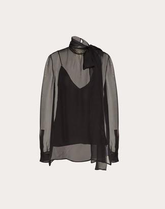 Valentino Chiffon Top Women Black Silk 100% 40