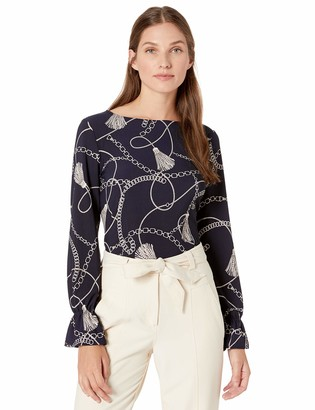 Nine West Women's Long Jewel Neck Printed Knit with Sleeve Detail