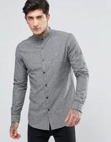 Farah Oxford Shirt With Grandad Collar Slim Fit In Grey