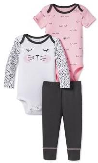 Lamaze Baby Girls Organic Cotton Bodysuits & Pants, 3-Piece Outfit Set
