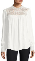 Joie Ilse Long-Sleeve Crochet Blouse, White
