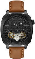Sean John Men's Downing Brown Leather Strap Watch 46x46mm