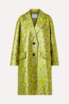 Prada Metallic Brocade Coat - Green