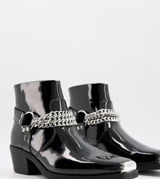 ASOS DESIGN Wide Fit cuban heel western chelsea boots in black patent with silver chain