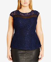 City Chic Trendy Plus Size Metallic-Lace Top