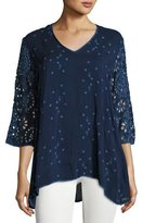 Johnny Was Asya V-Neck Georgette Top, Blue Night, Plus Size