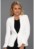 Rebecca Taylor Tweed Jacket w/ Metallic Trim (Optic White) - Apparel