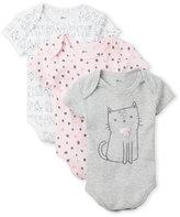 Petit Lem Newborn/Infant Girls) 3-Pack Kitty Bodysuits