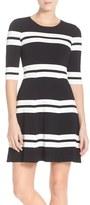 Eliza J Stripe Sweater Fit & Flare Dress (Regular & Petite)