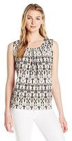 Kasper Women's Pleat Neck Printed Knit Cami
