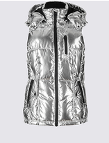 M&S Collection Metallic Padded Gilet with StormwearTM