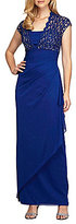 Alex Evenings Cap-Sleeve Lace-Yoke Ruched Gown